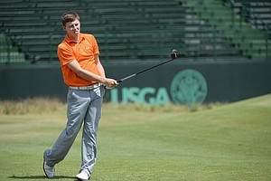 Matthew Fitzpatrick, the 2013 U.S. Amateur champion, during Monday's practice round for the 2014 U.S. Open at Pinehurst No. 2.