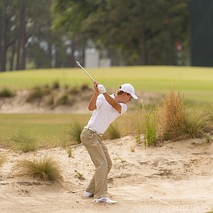 Maverick McNealy, a rising sophomore at Stanford, during Monday's practice round for the 2014 U.S. Open at Pinehurst No. 2.