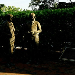 Statues of Donald Ross and Richard Tufts at Pinehurst Resort.