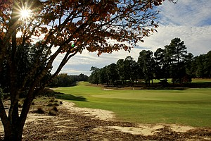 A view from the green on Hole No. 4 of Course No. 2 at Pinehurst.