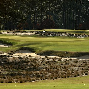 A view of Hole No. 5 on course No. 2 from 150 yards out at Pinehurst.