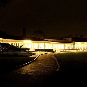 The clubhouse at Pinehurst Resort at  night.