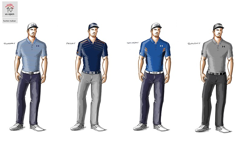 Hunter Mahan's scripted apparel for the 2014 U.S. Open.