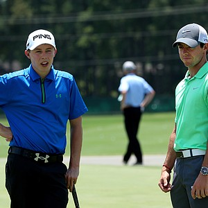 Matthew Fitzpatrick (left) and Rory McIlroy during Tuesday's practice round for the 2014 U.S. Open at Pinehurst No. 2.