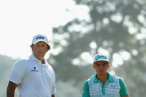 Rickie Fowler and Phil Mickelson during Tuesday's practice round at the 2014 U.S. Open at Pinehurst No. 2.