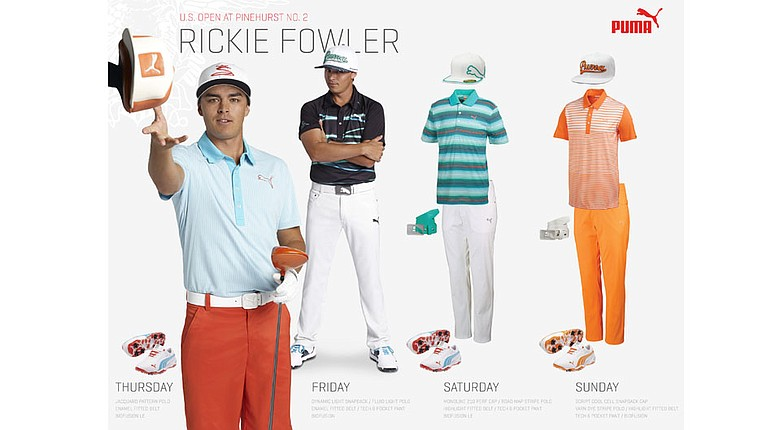 Rickie Fowler's scripted apparel for the 2014 U.S. Open at Pinehurst No. 2.