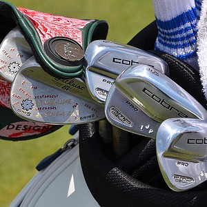 Ian Poulter has these colorful Cobra AMP Cell Pro irons in his bag at Pinehurst for the 2014 U.S. Open.