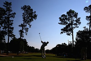 Dustin Johnson during Wednesday's practice round for the 2014 U.S. Open at Pinehurst No. 2.