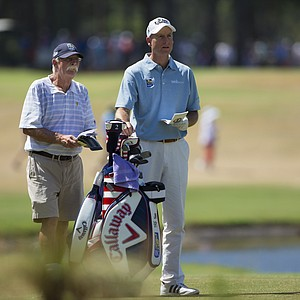 "Jim Furyk and his caddie Mike ""Fluff"" Cowan during Wednesday's practice round for the 2014 U.S. Open at Pinehurst No. 2."