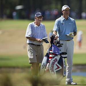 """Jim Furyk and his caddie Mike """"Fluff"""" Cowan during Wednesday's practice round for the 2014 U.S. Open at Pinehurst No. 2."""