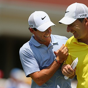 Rory McIlroy laughs with his caddie J.P. Fitzgerald during Wednesday's practice round for the 2014 U.S. Open at Pinehurst No. 2.