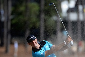 Dustin Johnson during Thursday's first round of the 2014 U.S. Open at Pinehurst No. 2.