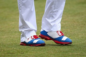Keegan Bradley's Jordan golf shoes on Day 1 of the 2014 U.S. Open at Pinehurst No. 2.