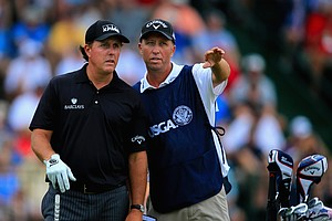 Phil Mickelson (left) during Thursday's first round of the 2014 U.S. Open at Pinehurst No. 2.