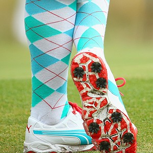 An up close view of Rickie Fowler's high socks and golf shoes during Thursday's first round of the 2014 U.S. Open at Pinehurst No. 2.