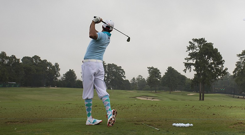Rickie Fowler warming up up on the range before the first round of the U.S. Open at Pinehurst No. 2.