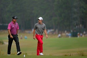 Graeme McDowell (left) and Rory McIlroy during Thursday's first round of the 2014 U.S. Open at Pinehurst No. 2.