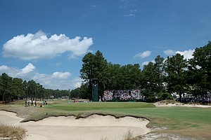 A view of the 15th green during Thursday's first round of the 2014 U.S. Open at Pinehurst No. 2.