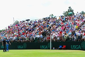 Dustin Johnson and Jimmy Walker walk off the sixth tee during Friday's second round of the 2014 U.S. Open at Pinehurst No. 2.