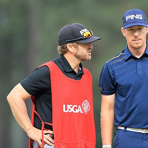 Hunter Mahan and his caddie John Wood during Friday's second round of the 2014 U.S. Open at Pinehurst No. 2.