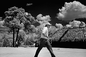 Phil Mickelson walks to the fourth tee during Friday's second round of the 2014 U.S. Open at Pinehurst No. 2. (EDITORS NOTE: An infrared camera was used to create this image and the image was converted to black and white.)