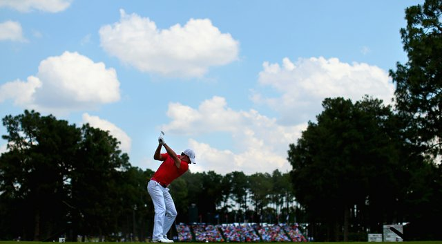 Rory McIlroy hits his tee shot on the 17th hole during Friday's second round of the 2014 U.S. Open at Pinehurst No. 2.