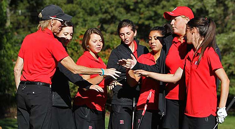 Rutgers head coach Maura Ballard (far left) and her golf team during the 203-14 season.
