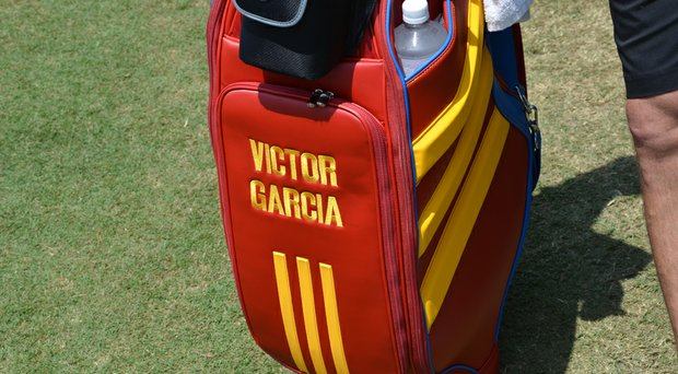 Sergio Garcia honors his father on his TaylorMade staff bag at the 2014 U.S. Open.