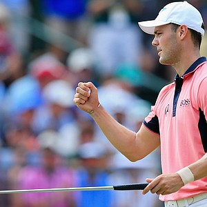 Martin Kaymer celebrates an eagle on the fifth green during the third round of the U.S. Open at Pinehurst.