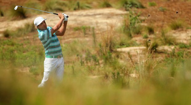 Rickie Fowler fired a 3-under 67 on Saturday and will play in Sunday's final group at Pinehurst No. 2.