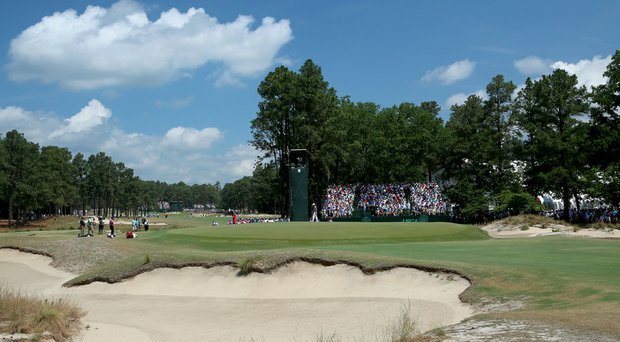 The 15th green at Pinehurst No. 2.