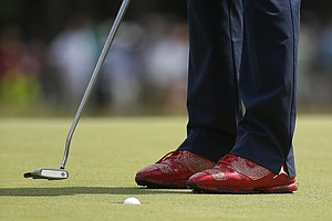 Keegan Bradley's Jordan golf shoes during Saturday's third round of the 2014 U.S. Open at Pinehurst No. 2.