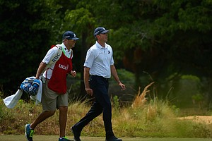 Matt Kuchar and his caddie Lance Bennett during Saturday's third round of the 2014 U.S. Open at Pinehurst No. 2.