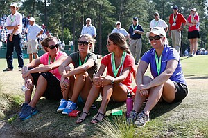 LPGA players (left to right) Brittany Lang, Jaye Marie Green, Belen Mozo and Brittany Lincicome follow the play during Sunday's final round of the 2014 U.S. Open at Pinehurst No. 2.