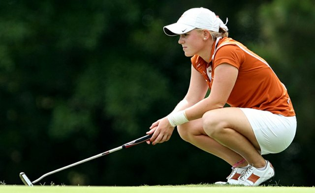 Madison Pressel, show here playing with the Texas Longhorns in 2013, won her first pro title on the Symetra Tour on Sunday.
