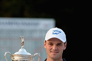 Martin Kaymer and the U.S. Open Championship Cup at the 2014 U.S. Open at Pinehurst No. 2.
