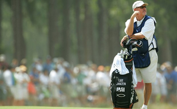 Mike Hicks, former caddie of Payne Stewart, during the first round of the 2005 U.S. Open at Pinehurst No. 2, working for Lee Janzen.