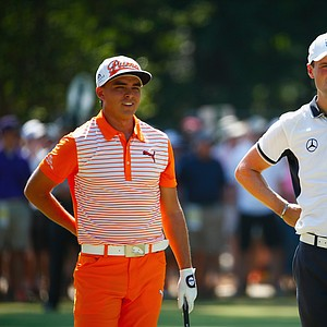 Rickie Fowler and Martin Kaymer during Sunday's final round of the 2014 U.S. Open at Pinehurst No. 2.