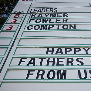 A happy Father' Day note from the USGA on the 18th hole scoreboard during the final round of the 2014 U.S. Open at Pinehurst No. 2.