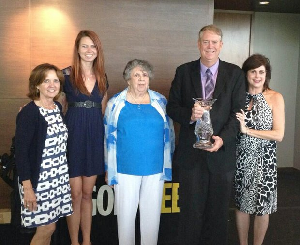 Craig Dolch with his family, honored as Golfweek's Father of the Year at Streamsong Resort.