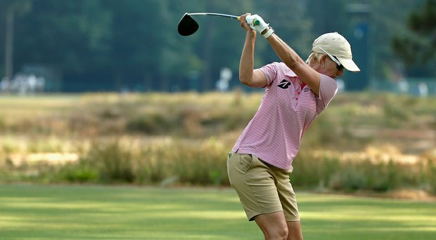 Karrie Webb during her practice round on Tuesday at Pinehurst No. 2, the site of the 2014 U.S. Women's Open.
