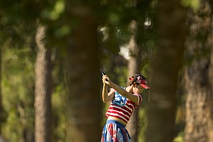 Lucy Li, 11, during the first round of the U.S. Women's Open at Pinehurst No. 2.