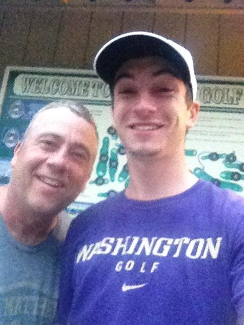 Tyler Salsbury and his dad, Dave, after his 13-under 57 at Enumclaw Golf Course.