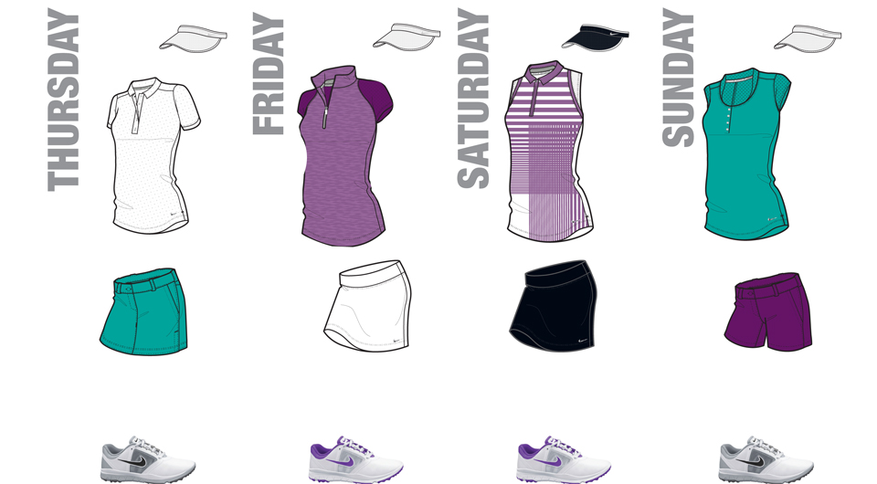 Michelle Wie's Nike Golf apparel Thursday-Sunday at the U.S. Women's Open.