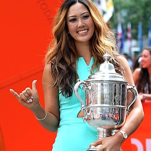 Michelle Wie, winner of the U.S. Women's Open, gestures while appearing on NBC's the 'Today Show' during her media tour Tuesday in New York City.
