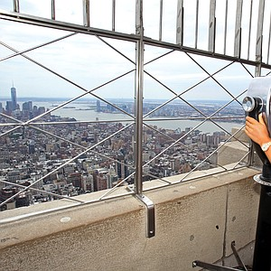 Michelle Wie, winner of the U.S. Women's Open, poses for a photo on the observation deck of the Empire State Building during her media tour Tuesday in New York City.