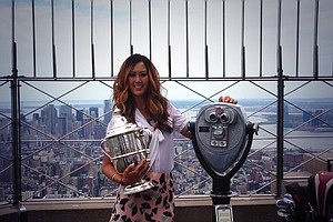 Michelle Wie atop the Empire State Building during her media tour on Tuesday in New York City.
