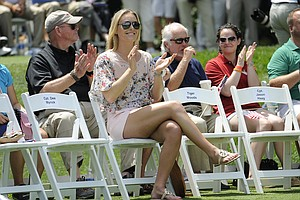 Tiger Woods' girlfriend Lindsey Vonn during the opening ceremonies at the PGA Tour's 2014 Quicken Loans National.