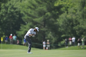 Tiger Woods during the pro-am round at the PGA Tour's 2014 Quicken Loans National.