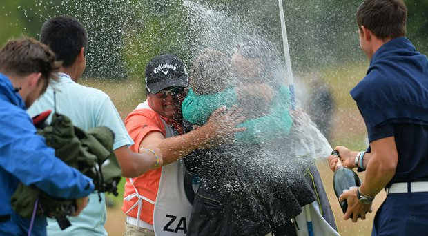 Fabrizio Zanotti celebrates his BMW International Open win on the 17th green after a four-way playoff on Sunday.